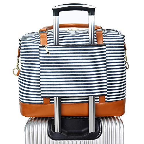(Women Ladies Canvas Weekender Bag Overnight Carry-on Tote Duffel in Trolley Handle (Blue Stripe))