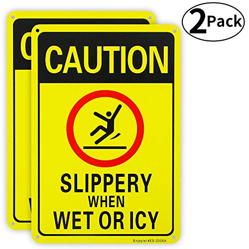2 Pack Caution Slippery When Wet or ICY Sign, 10″x 7″ .04″ Aluminum Sign Rust Free Aluminum-UV Protected and Weatherproof