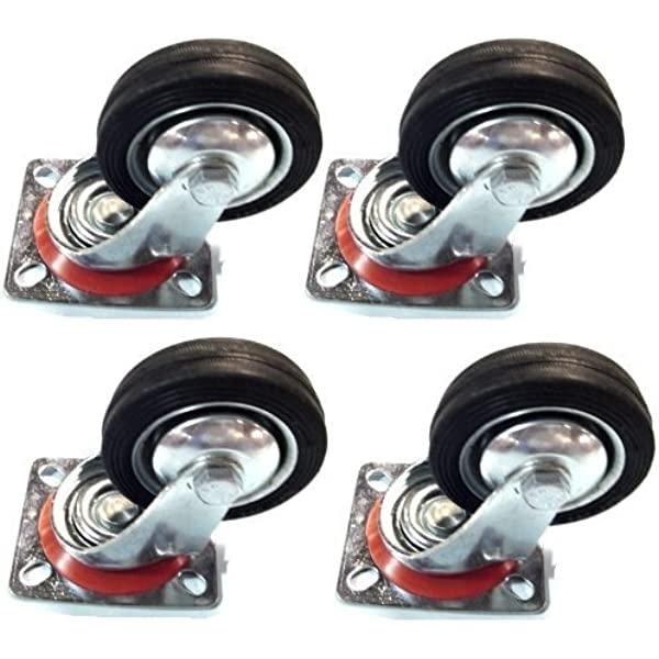 Casters,4 Pieces Heavy White Nylon Flatbed Truck Trolley Castor Wheels,Office Chair Swivel Chair Universal Wheel,Replace Accessories Brake Mute Furniture Casters Dustproof Shaft R