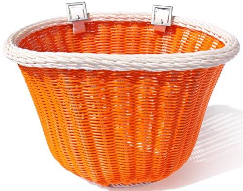 Colorbasket 01402 Adult Front Handlebar Bike Basket, Orange with White Trim