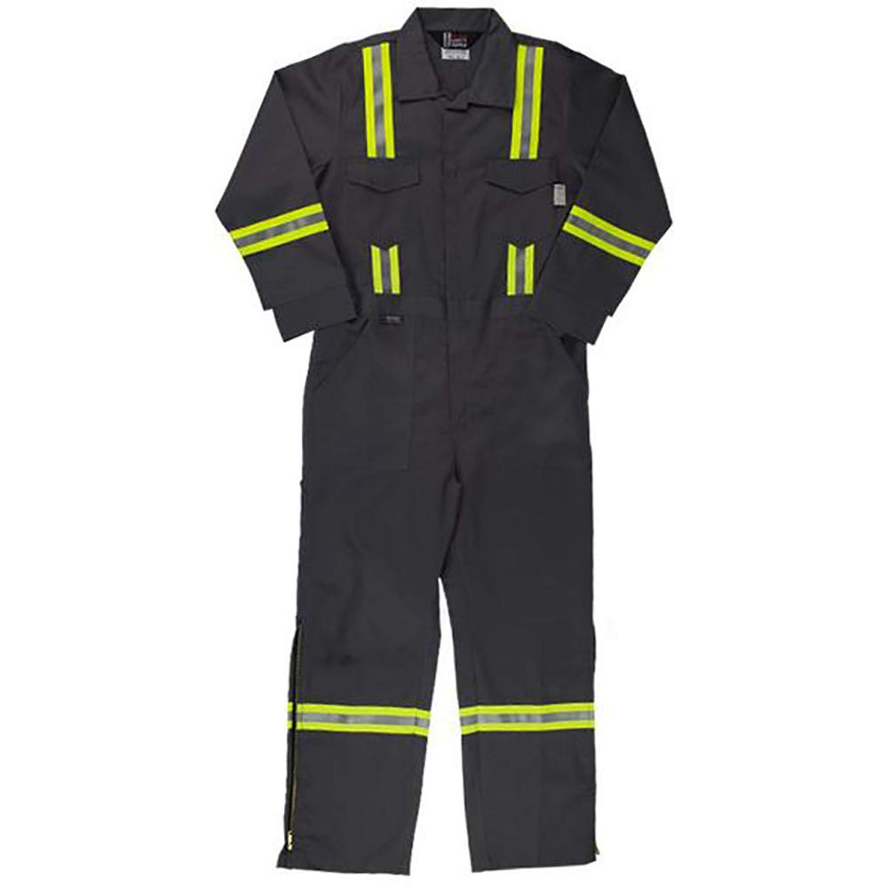 Oil and Gas Safety Supply Flame Resistant FR Reflective Coverall with Leg Zippers (36/XS, Grey)