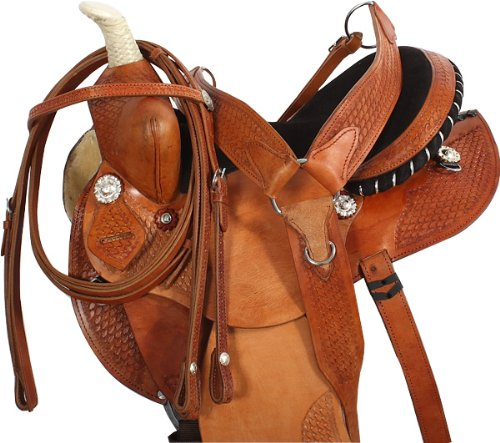 14 15 16 MEDIUM OIL WESTERN BARREL RACER HORSE SADDLE LEATHER PLEASURE TRAIL HORSE TACK (Leather Wrapped Barrel)