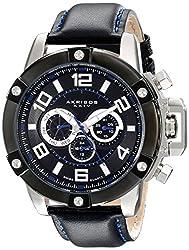 Akribos XXIV Men's AK605SSB Conqueror Multi-Function Stainless Steel Swiss Quartz Leather Strap Watch