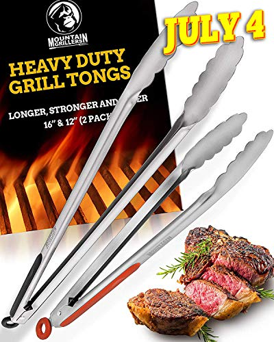 Grill Tongs for Cooking BBQ - Heavy Duty Grilling Tongs for Cooking & Serving Food in The Sizes You Need - 12 & 16