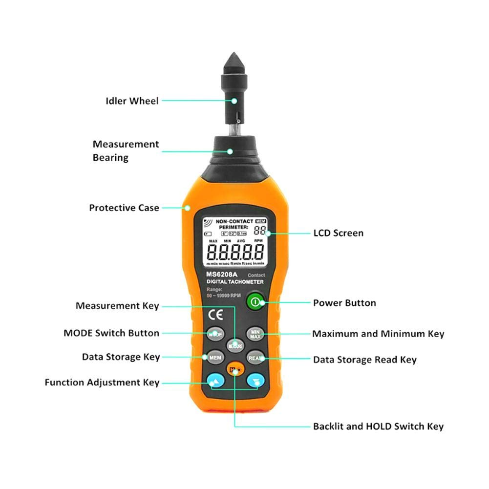 Pangding Digital Tachometer PM6208A Contact-Type Digital Tachometer Meter Motor Speeds Gauge Tester
