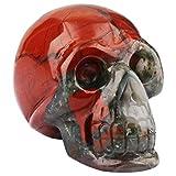 rockcloud Healing Crystal Stone Human Reiki Skull Figurine Statue Sculptures Africa Bloodstone 3''