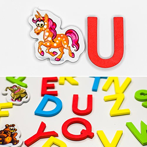 Animal Letter (Magnetic Letters Animals For Educational Fun Refrigerator Alphabet For Kids Magnets fridge SET OF 56 ABC magnets Educating Kids Foam Letters Animals CHARACTERS MAGNETS Magnético)