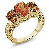 3.40 Ct Twilight Orange Mystic Quartz Ecstasy Mystic Topaz 18K Yellow Gold Plated Silver Ring