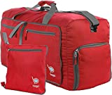 bago 23'' Travel Duffle Bag Women & Men - 50L Foldable Duffel Bags Shoes & Laundry Pouch Carry On & Gym (Red)