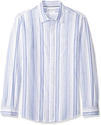 Amazon Essentials Men's Regular-Fit Long-Sleeve Stripe Linen Shirt, Blue, Medium ()