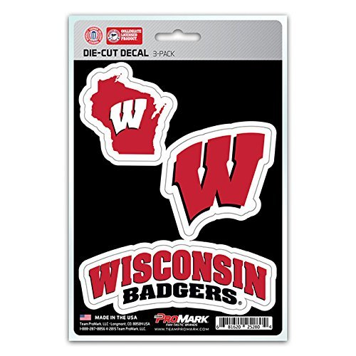 NCAA Wisconsin Badgers Team Decal, 3-Pack