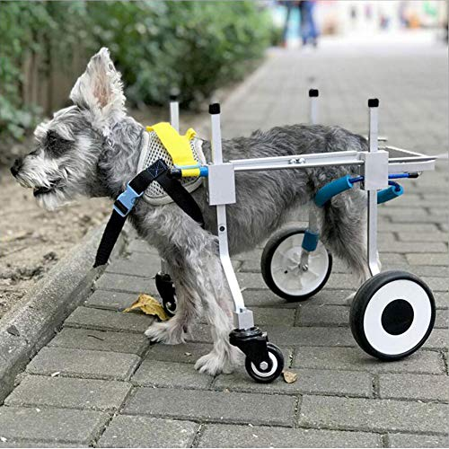 Dog Wheelchair, Adjustable Full Support Pet Wheelchair 4 Wheels Dog Cart Front and Hind Legs Rehabilitation for Handicapped Small Dog Doggie Puppy Cat (XXS)
