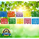 IREKUA Mexican Decorations Papel Picado Banner -Colorful Tissue Paper Coco Movie -10 Bright Plastic Panels (over 16 Feet Long) -Mexican Fiesta Party Birthday Festive Celebrations Weedings- Handmade