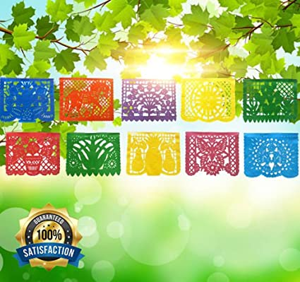 ac759c91aa8d IREKUA Mexican Decorations Papel Picado Banner -Colorful Tissue Paper Coco  Movie -10 Bright Plastic