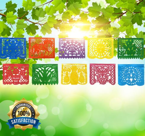 IREKUA Mexican Decorations Papel Picado Banner -Colorful Tissue