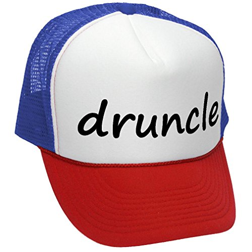 The Goozler DRUNCLE - Drunk Uncle Family Reunion - Adult Trucker Cap Hat, RWB - Family Reunion Hats