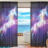 Cooper girl Star Unicorn Horse Sheer Window Curtain Panel Drape 55x78 Inch for Living Room Bedroom Kids Room 2 Piece
