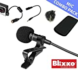 Lavalier Lapel Mic 6 in 1 combo pack: 3.5mm hands free mic - GoPro Adaptor - wind canceling cover - TRS adaptor - for YouTube - business meetings - iphone - music video - computer - video - and Go Pro