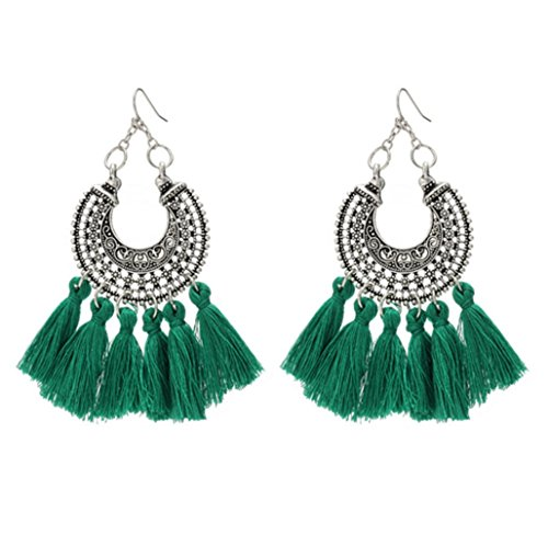 Tassel Shaped (Bohemian Woven U-Shaped Flower Tassel Earrings Cashmere Handmade Earrings,Green)