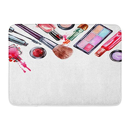 YGUII Doormats Bath Rugs Outdoor/Indoor Door Mat Watercolor Cosmetics Pattern Make Up Artist Lipstick Nail Perfumes Eye Shadows Brushes Mascara Beauty Bathroom Decor Rug Bath Mat 16X23.6in (40x60cm)