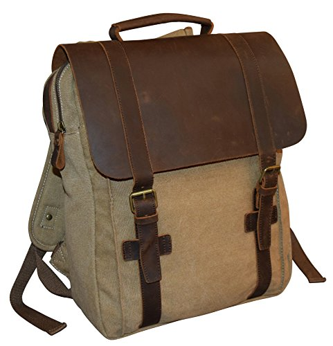 Vintage Canvas Leather 16 Laptop Flapover Backpack Khaki
