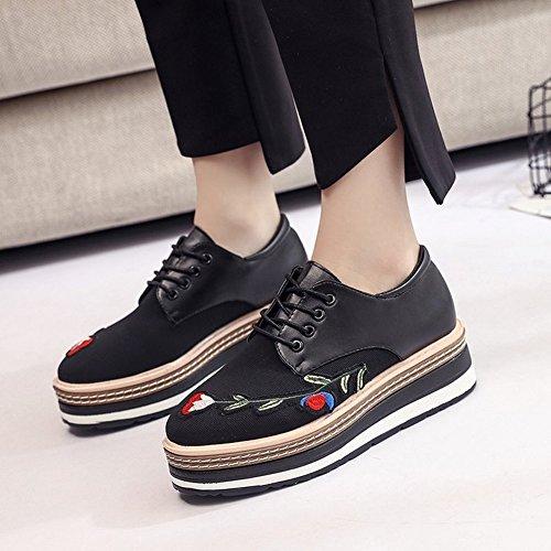 Individuales Flores Del Zapato Bordado Ancho Gruesos Zapatos Locke negro Retro el Zapatos en Femenino 5 Pastel Zapatos Extremo EUR36 wqBdC5w