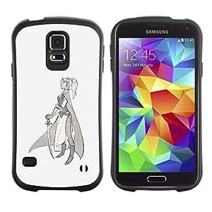 LASTONE PHONE CASE / Suave Silicona Caso Carcasa de Caucho Funda para Samsung Galaxy S5 SM-G900 / Warrior Princess Sword Profile Art Drawing