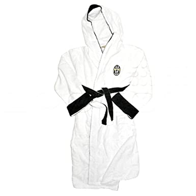 4346162f6a Juventus FC Mens Official Football Crest Dressing Gown Bath Robe (Medium)  (White)  Amazon.co.uk  Clothing
