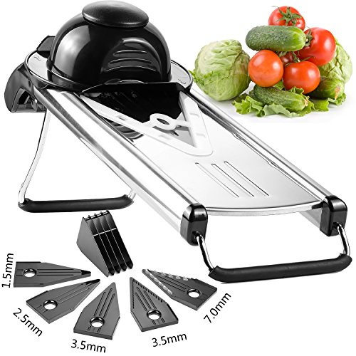 Nexgadget 5 Blade Stainless Steel Mandoline Slicer Heavy Duty Vegetable Cutter with Hand Guard for French Chips, Vegetable and Fruit
