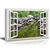 Canvas Print Wall Art - Window Frame Style Wall Decor - Clear Spring, Big Rock and Green Trees | Giclee Print Gallery Wrap Modern Home Decor. Stretched & Ready to Hang - 24'' x 36''