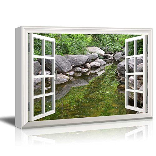 Canvas Print Wall Art - Window Frame Style Wall Decor - Clear Spring, Big Rock and Green Trees | Giclee Print Gallery Wrap Modern Home Decor. Stretched & Ready to Hang - 24