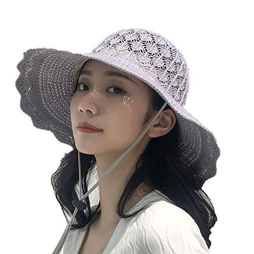 WENSY Women's Summer Fashion Season Wide Foldable Foldable Sun Protection Sun Hat Bow Basin Hat Beach Beach Fisherman Hat ()