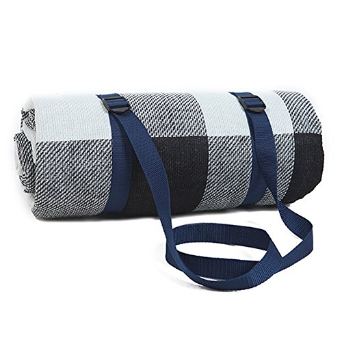 For Sale! DEYI Waterproof Picnic Blanket Mat Large Oversized White and Grey Checkered 79 x 79 inch