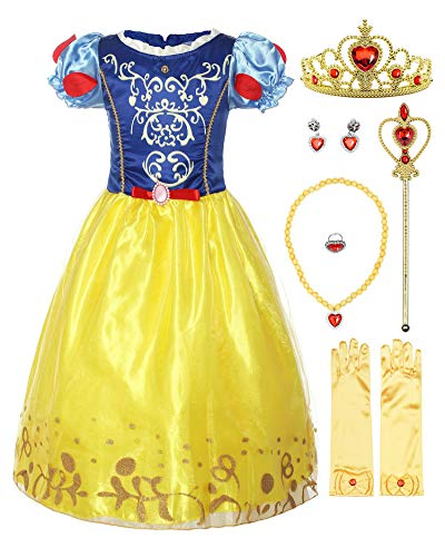 ReliBeauty Girls Puff Sleeve Fancy Dress Princess Snow White Costume with Accessories, -