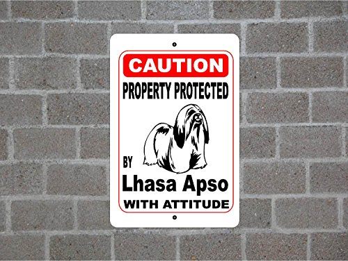 Teisyouhu Home Decor Sign Property Protected By Lhasa Apso Guard Dog Warning Breed Metal Sign for Outdoor Indoor Use Yard Fence Garage (Warning Lhasa Apso)
