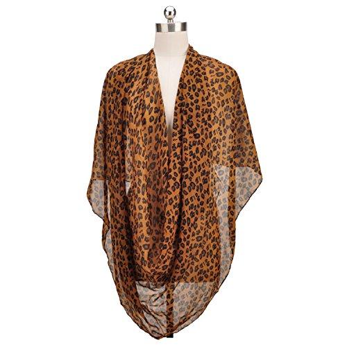 New Long Section Deep Khaki Leopard Print Chiffon Shawl Fashion Wild Scarves Women