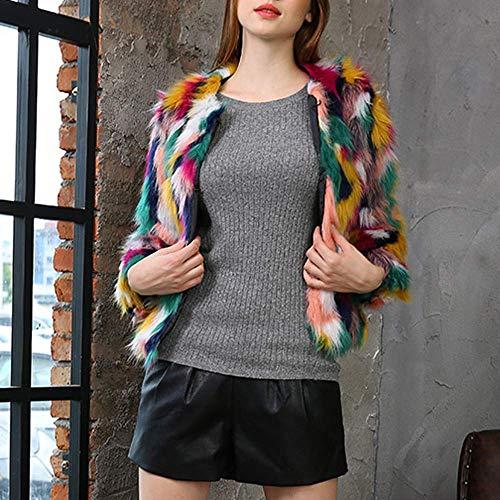 Parka Xxl Zhrui De Overout Chaqueta Prendas Cálido Abrigo Cardigan Outwear Escudo Faux Mujer color Las Señoras Tamaño Grueso Casual Multicolored Invierno XrRnYr6
