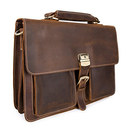Crazy-Horse Leather Briefcase Handbag Messenger Bag Travelling Shoulder Bag Satchel Bag Fit 15'' Laptop by BAIGIO