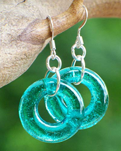 - Recycled Vintage Mason Jar Glass Hoop Earrings