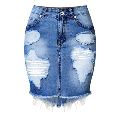 Aooword Women's Assymetry Holes Sexy Bodycon Back Split Fringed Denim Skirt Denim Blue S by Aooword-women clothes