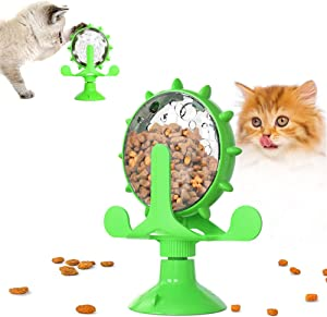 Cat Slow Feeder Toy with Powerful Suction Cup, Food Dispenser Toys, 360° Rotating Windmill Leaking Food, New Spinning Pet Toy (Green)