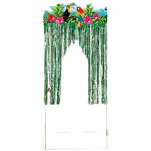 Amscan Sun-Sational Summer Luau Party Tropical Birds Door Curtain Decoration, Foil, 4 Feet x 3 Feet