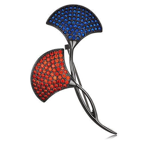 Kemstone Gun Plated Red and Blue Crystal Mushroom Brooch Jewelry