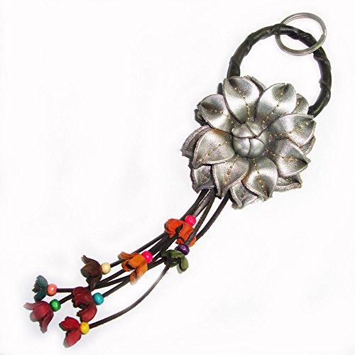 Padee Genuine Leather Silver Flower Keychain Keyring Keyfob Snap Strap for Hanging Handbag Wallet Purse Car Charm Handmade Handcraft Keychain#STPKEY049N