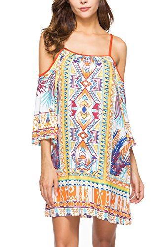 Anatoky Womens Cold Shoulder Spaghetti Strap Tribal Geometric 3/4 Sleeve Summer Shift Dress,Pattern - Shift Tribal