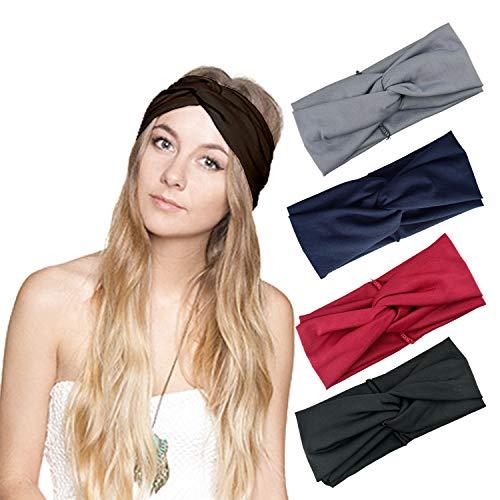 (DRESHOW Cross Headbands Vintage Elastic Head Wrap Stretchy Moisture Hairband Twisted Cute Hair Accessories (4 Pack Cross Cloth: Black, Burgundy, Grey, Navy))