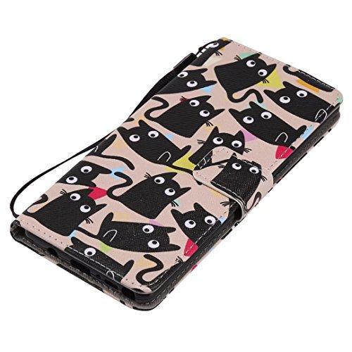 LEMORRY Samsung Galaxy Note 8 Hülle Tasche Ledertasche Flip Beutel Haut Slim Bumper Schutz Magnetisch Schließung SchutzHülle Weich Silikon Cover Schale für Galaxy Note8, Comic Katze