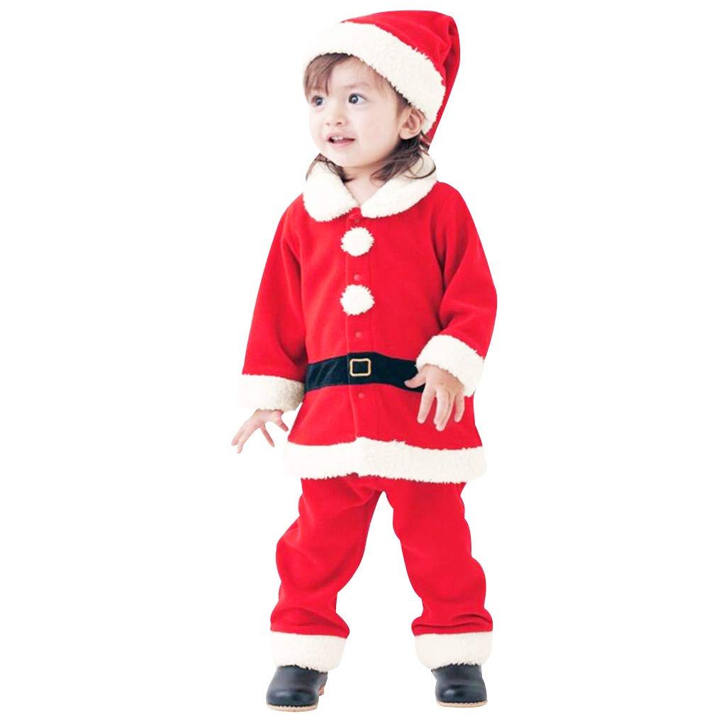 Voberry Newborn Infant Baby Boys Girls Santa Claus Suit Kids Christmas Halloween Costume Cosplay Set Red by Voberry@123