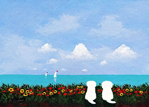 (Maltese Bichon Frise Dog LARGE Art Print by Todd Young SIDE BY SIDE )