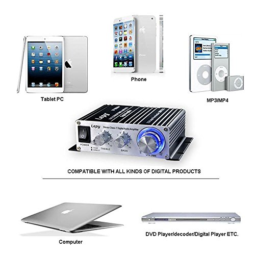 Lepy LP-2024A-HA LP-2024A+ Hi-Fi Audio Stereo Power Amplifier Car Amplifier, 3A Power Supply by Lepy (Image #4)